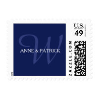navy blue family initial monogram + names, wedding postage