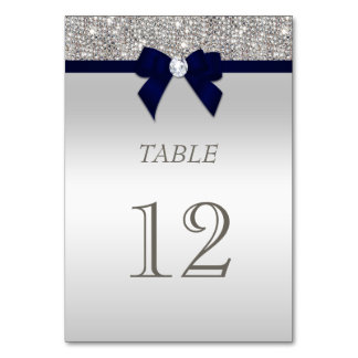 Navy Blue Faux Bow Silver Sequins Card