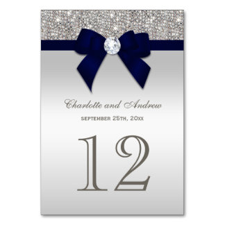 Navy Blue Faux Bow Silver Sequins Wedding Card