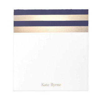 Navy Blue Faux Gold Foil Stripes Name Notepad