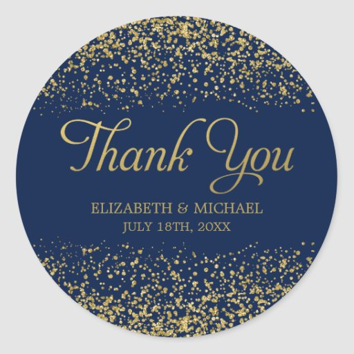 Navy Blue Faux Gold Glitter Wedding Thank You Classic Round Sticker