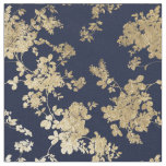 Navy blue faux gold shabby vintage chic floral fabric