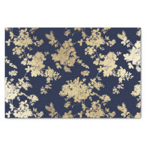Navy blue faux gold shabby vintage chic floral tissue paper