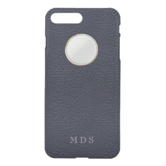 Navy Blue Faux Leather Texture Peephole Monogram iPhone 7 Plus Case