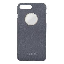 Navy Blue Faux Leather Texture Peephole Monogram iPhone 8 Plus/7 Plus Case