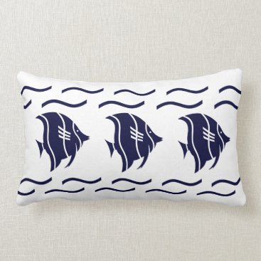 Beach Themed navy blue fish & waves on a white  PILLOW