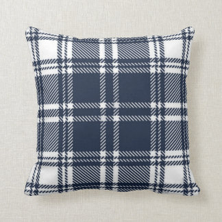 Navy Blue Flannel Plaid Throw Pillow