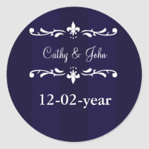 navy blue fleur de lis envelope sticker