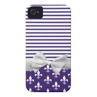 Navy Blue, Fleur de lis, Sailor Stripes & Ribbon Case-Mate iPhone 4 Cases