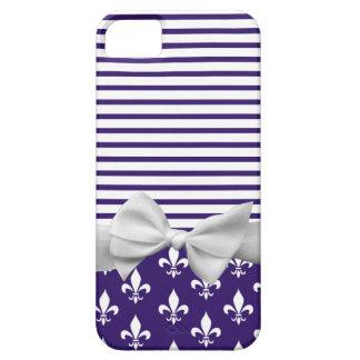Navy Blue, Fleur de lis, Sailor Stripes & Ribbon iPhone SE/5/5s Case
