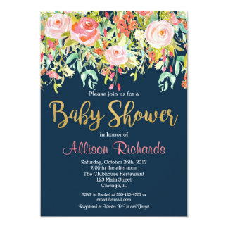 navy blue floral baby shower invitation