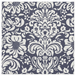 Navy Blue Floral Damask Fabric