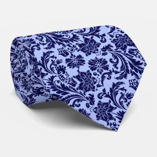 Navy-Blue Floral Damasks Light Blue Background Tie