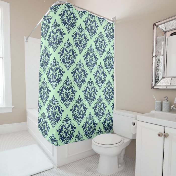 Navy Blue Floral Damasks Mint Green Background Shower Curtain Zazzle