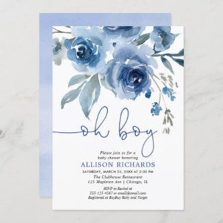 Navy blue floral baby shower invitation for boy