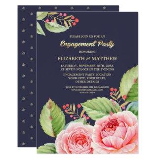 Navy Blue Floral Engagement Party Invitations