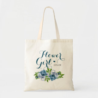 Navy Blue Floral Flower Girl Tote Bag