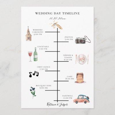Navy Blue Floral Illustrated Wedding Timeline Program