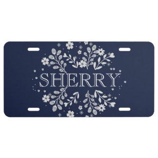 Navy Blue Floral License Plate