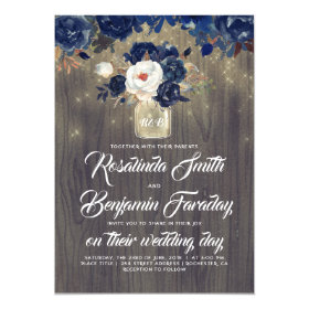 Navy Blue Floral Mason Jar Rustic Wedding Invitation
