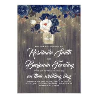 Navy Blue Floral Mason Jar Rustic Wedding Invitation