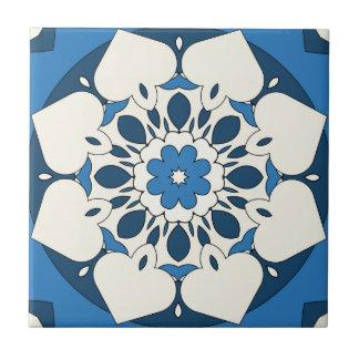 Navy Blue Floral Mediterranean Tile