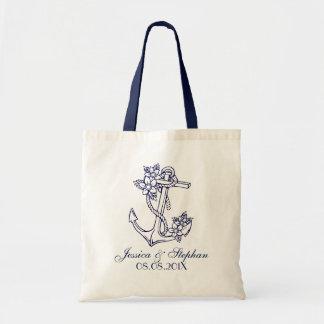 Navy Blue Floral Nautical Anchor Tote Bag
