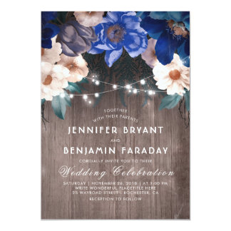 Navy Blue Floral String Lights Rustic Fall Wedding Card