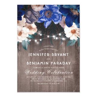 Navy Blue Floral String Lights Rustic Fall Wedding Invitation
