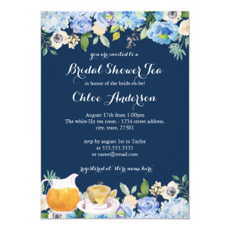 Navy Blue Floral Teacup Bridal Shower Invitation