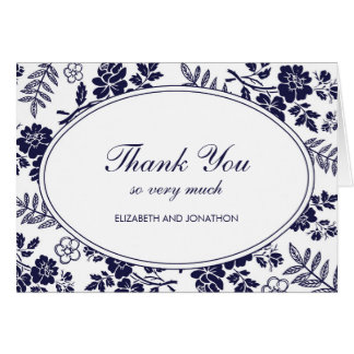 Navy Blue Floral Thank You Notes
