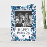 Navy blue Floral watercolor poem photo Mother day Card