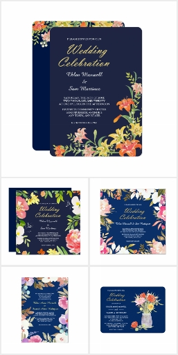 Navy Blue Floral Wedding