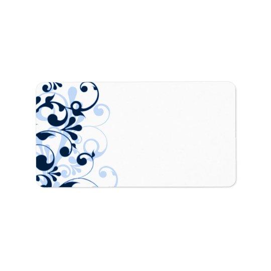 Navy Blue Floral Wedding Blank Address Label