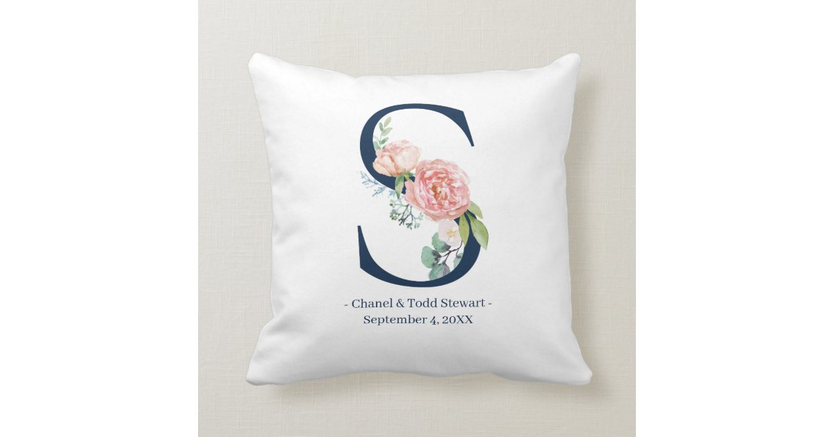 Navy Blue Floral Wedding Monogram Pillow S Zazzle Com