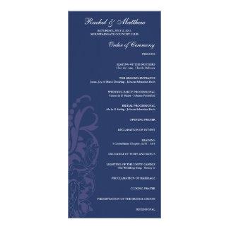 Navy Blue Floral Wedding Program