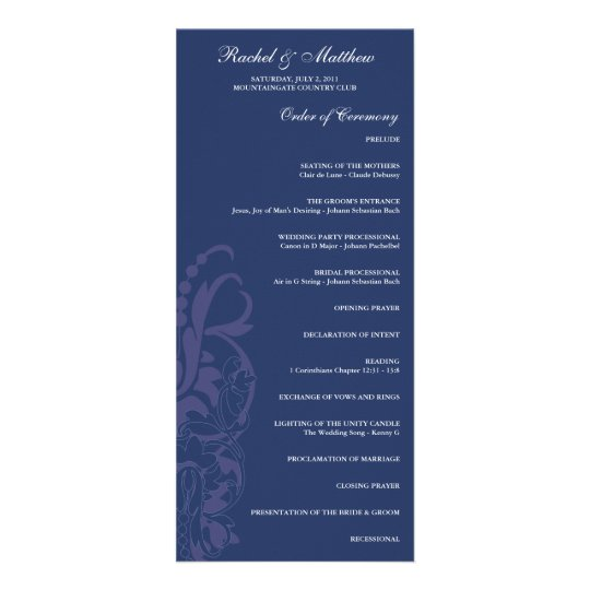 Navy Blue Floral Wedding Program