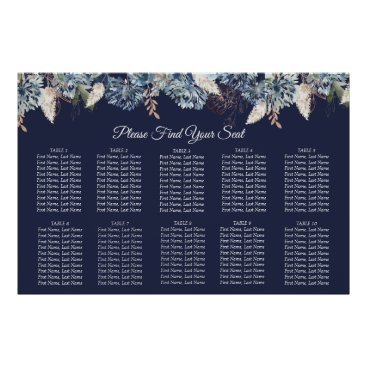 Art Themed Navy Blue Floral Wedding Seating Chart