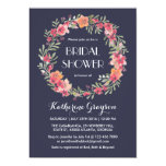 Navy Blue Floral Wreath Bridal Shower Invitation at Zazzle