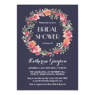 Navy Blue Floral Wreath Bridal Shower Invitation