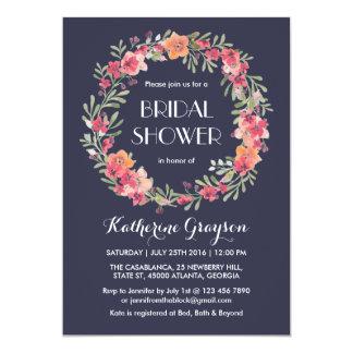 Navy Blue Floral Wreath Bridal Shower Invitation