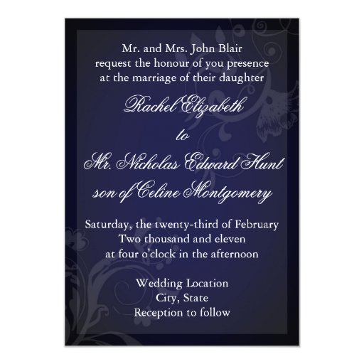Navy Blue Flourish 5x7 Paper Invitation Card