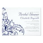 Navy Blue Flourish Bridal Shower Invitations Custom Invitations