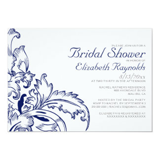 Navy Blue Flourish Bridal Shower Invitations Custom Invitations