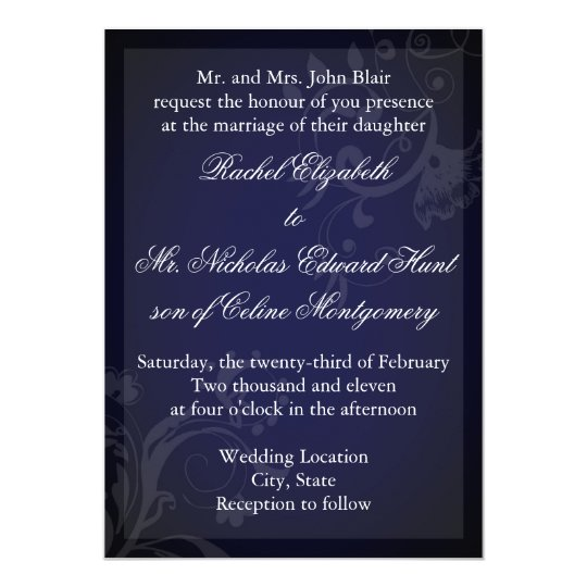 Navy Blue Flourish Card