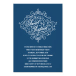 Navy Blue Flourish Sweet Sixteen Birthday Party 5x7 Paper Invitation Card