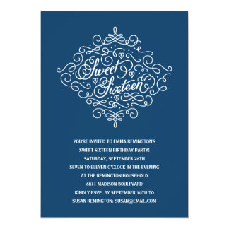 Navy Blue Flourish Sweet Sixteen Birthday Party Card