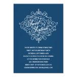 Navy Blue Flourish Sweet Sixteen Birthday Party Cards