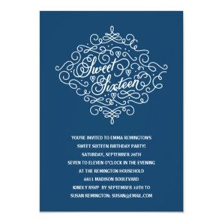 "Navy Blue Flourish Sweet Sixteen Birthday Party 5"" X 7"" Invitation Card"