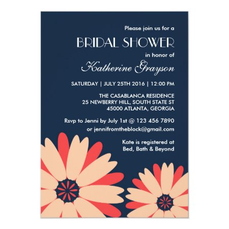 Navy Blue Flower Invitation For Spring Wedding
